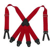 New CTM Men's Elastic Button-End 2 Inch Fireman Suspenders