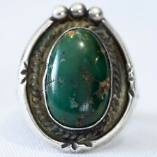 Vintage Navajo Sterling Silver Turquoise Braided Bezel Ring Size 7