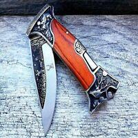 """9"""" Back Lock Tactical Folding Pocket Knife Hunting Blade Engraved 3CR13 S Steel"""