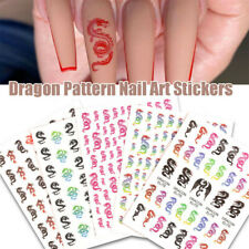 5 Sheets Waterproof Punk Dragon Decals Nail Stickers Manicure Nail Art Supplies