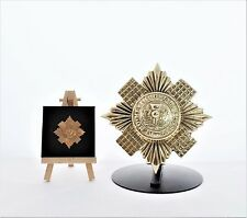 Scots Guards: LARGE Solid Brass Cap Star with metal stand
