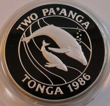 Tonga 2 Pa'anga 1986 Silver Humpback Whale World Wildlife Fund PROOF