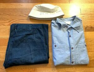 Lot Vintage US NAVY Military Trousers Pants/ Chambray Uniform Shirt. Hat.