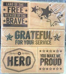 "Hero Arts Wood Mounted Stamp Set ""Hero OHW"" LP344 Veterans Day Cardmaking"