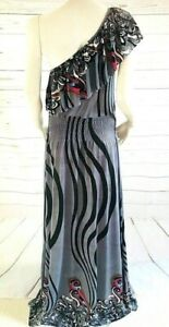 Boohoo Maxi Long Dress Frill One Shoulder Grey & Black  with Stretch Size 10