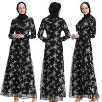 Elegant Muslim Women Flower Net Yarn Cocktail Maxi Dress Abaya Lace Long Robe