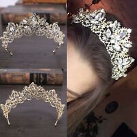 Bride Baroque Luxury Crystal AB Bridal Crown Tiaras Light Gold Diadem Tiara P7D.