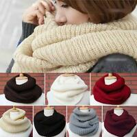 Women Men Winter Infinity Cable Knit Cowl Neck Long Scarf Shawl Wrap 2 Circle