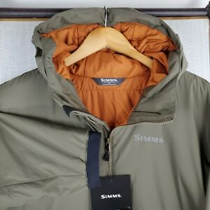 NWT $249 SIMMS Size 3XL Mens Dark Stone Hooded Primaloft Full Zip Jacket Coat