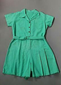 VTG Women's 40s Teal / Green Athletic Cotton Romper Sz L 1940s