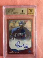 YASIEL PUIG 2013 TOPPS CHROME RED REFRACTOR ROOKIE RC BGS 9 AUTO 10 # 12/25