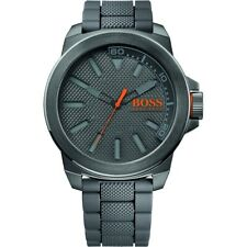 NIB HUGO BOSS Orange Men's 1513005 New York Gray Stainless Steel Watch