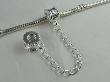 BEAUTIFUL SILVER PLATED SAFETY CHAIN FOR EUROPEAN STYLE CHARM BRACELETS (SC 002)