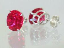 925 Sterling Silver Post Earrings, Created Ruby, SE102