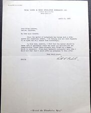 Ruth Rowland Nichols Aviation Pioneer Record Holder Signed Letter ''Rare''