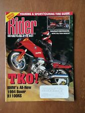 Rider Motorcycle Magazine August 1993 - BMW 1994 Boxer R1100RS - Harley-Davidson