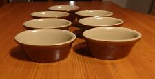 Lot of 7 Price Powell Made in England Ceramic Brown Dish Ramekins Oval 1977 Bowl