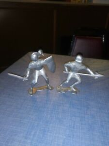 Lot of (2) Vintage 1964 Marx Toys 6 Inch Silver Knight's Figures