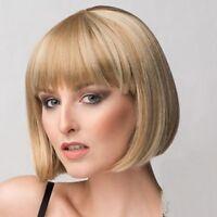 Bob Style Short Capless Stunning Natural Straight Full Bang Women's Wig Hair