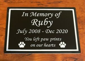 Personalised Pet Memorial Plaque Durable Outdoor Name Plate Dog Cat Grave Marker