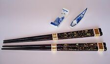 2-pairs HIGH CLASS Japanese Lacquer w/ Abalone Shells URUSHI Chopsticks + 2 Rest