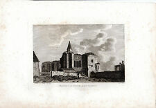 ANTIQUE SCOTTISH Print-Dunfermline Abbey fratery-Hooper Copperplate (1790)