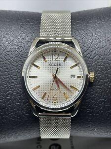 Citizen Eco-Drive Women's Rose-Gold Accent Mesh Bracelet Watch FE6081-51A #C113