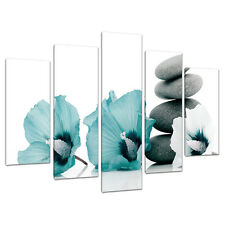 Set of 5 Teal Floral Wall Pictures Split Canvas Art Bedroom Print 5072
