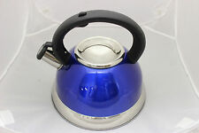 CONCORD 2.8 Quart Tri-Ply Bottom Tea Kettle Pot Large Whistling Cookware Blue