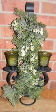 Vintage Metal Sconce Floral Greenery Candles Homco Green Votive Cups