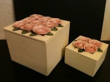 Set of 2 Handcrafted Wooden Nesting Trinket Jewelry Boxes w/Pink Paper Flowers