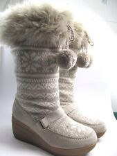 """Red Camel Knit Wedge Faux Fur Pull On Boots """"Summit"""" Size 6.5 M Womens EUC"""