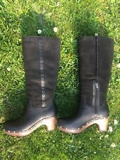 UGG Australia Damen Clogs Stiefel LEDER Schaffell schwarz Größe 38 / NEU