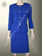 TAHARI Women Skirt Suit SIZE 16 ROYAL BLUE Two-Piece Knee Dressy NWT$280 LBCUSA