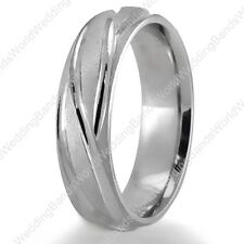 Hand Carved His / Her Wedding Ring Solid 10K White Gold 6mm Wide Wedding Band