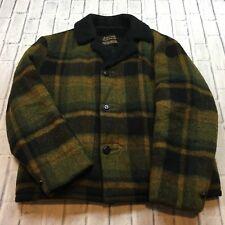 60s VTG SEARS OAKBROOK SPORTSWEAR Plaid SHERPA LINED Wool M Coat Jacket Size 40
