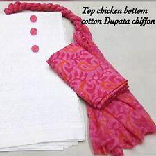 Elegant Cotton Chicken Dress material with Chiffon Dupatta Design no Work18