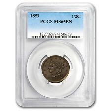1853 Half Cent Ms-65 Pcgs (Brown)