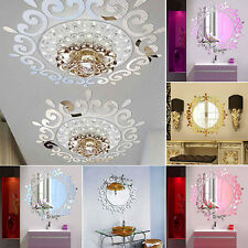 DIY Feather Flower Mirror Edge Wall Sticker Room Decal Mural Home Party Decor#FA