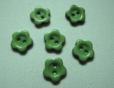 6 BOUTONS  Fleur vert  NEUF * 12 mm pied * 1,2 cm button yellow sewing couture