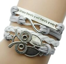 "Grey Braided Owl bracelet silver toned ""where there's a will there's a way"""