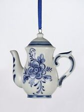 KURT S. ADLER HANDPAINTED PORCELAIN DELFT BLUE TALL MINI TEAPOT XMAS ORNAMENT