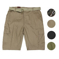 LR Scoop Men's Multi Pocket Casual Golf Belted Cargo Dress Shorts Big Plus Sizes