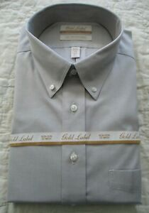 ROUNDTREE & YORKE Tall Man GOLD LABEL Shirt L/S Non Iron DOVE GREY  17 - 37 NWT