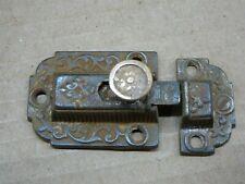 PAIR ANTIQUE 1871 CAST IRON & BRASS VICTORIAN CABINET LATCHES & RECEIVERS VG