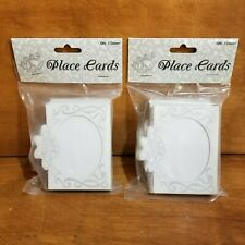White & Silver Wedding Place Cards Two packages of 12