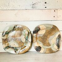 Vintage Studio Pottery Signed Plates Hand Thrown Speckled Glaze Metallic Accent