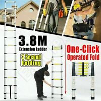 3.8M Extension Extendable Aluminum Telescopic Ladders Heavy Duty Step Ladder New