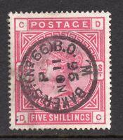 QV 1883-83 sg 181 ( D C )  5/- crimson with very fine Baker St No 66  cds  pmk.