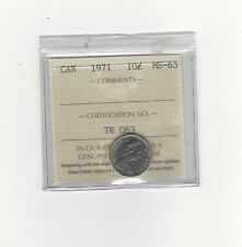 **1971**, ICCS Graded Canadian,  10  Cent, **MS-65**